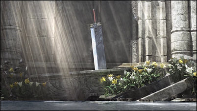 The Buster Sword joins Aerith at the church.