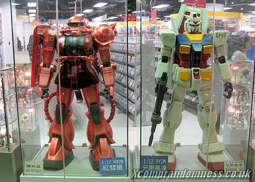 Human-sized Gundam figure.