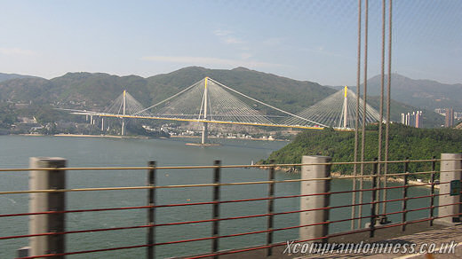 The Tsing Ma Bridge from a distance.