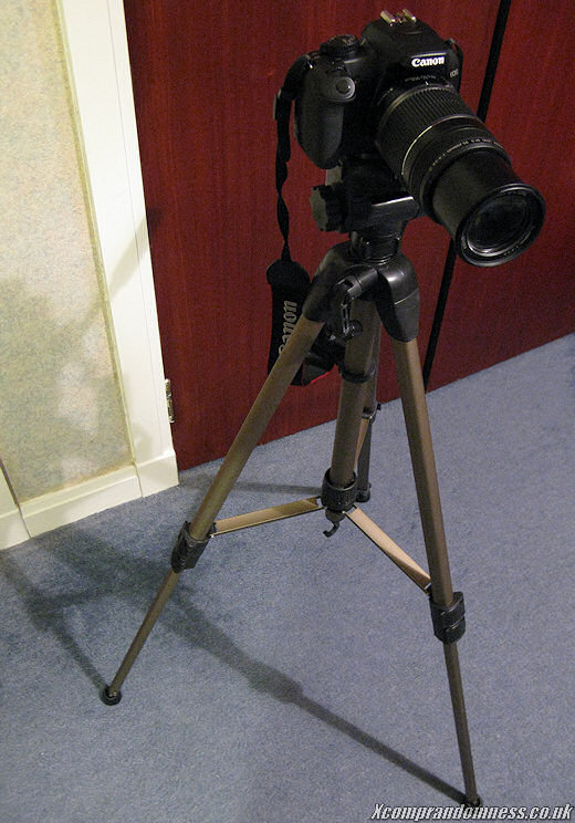 Tripod with heavy zoom lens.
