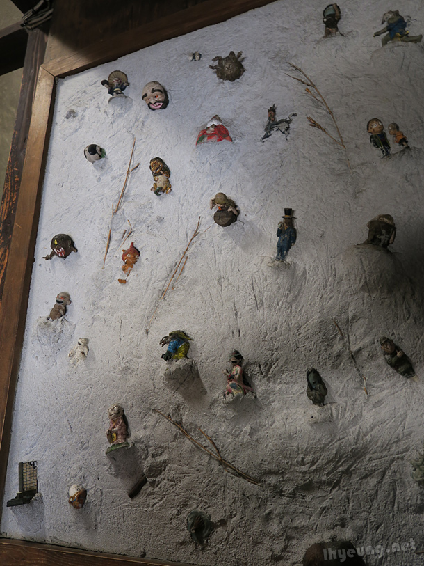 Whole wall of Youkai figures