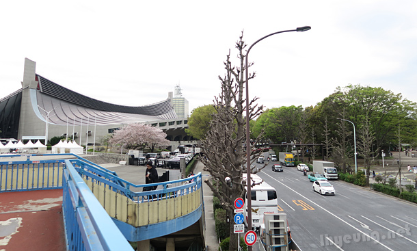 Looking at Yoyogi Park from walkway.