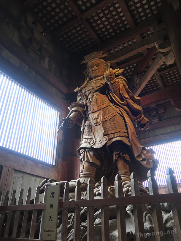 Fierce-looking statues.