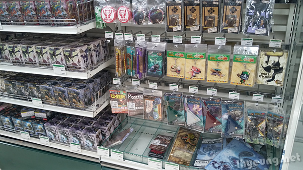 Whole section of Monster Hunter goods.