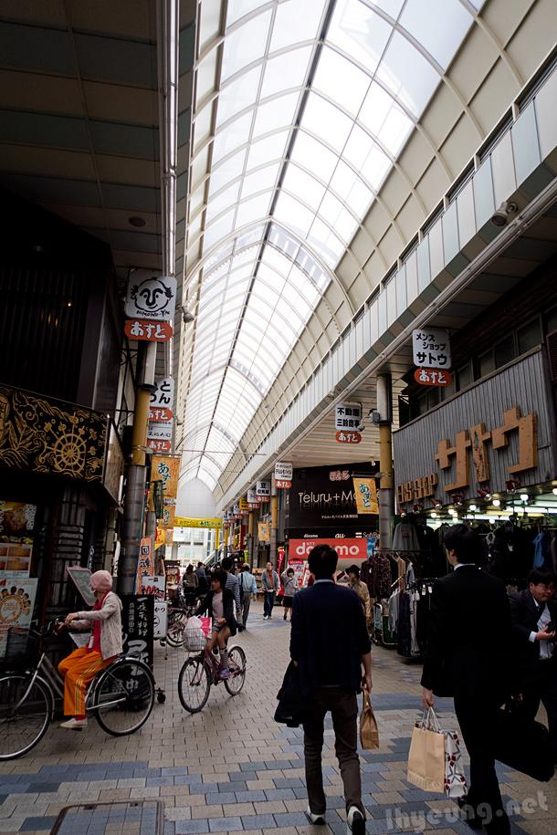 Lane full of shops.